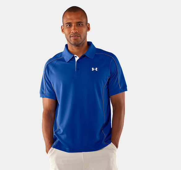 UNDER ARMOUR MEN PERFORMANCE PIQUE COLORBLOCK POLO MOON SHADOW