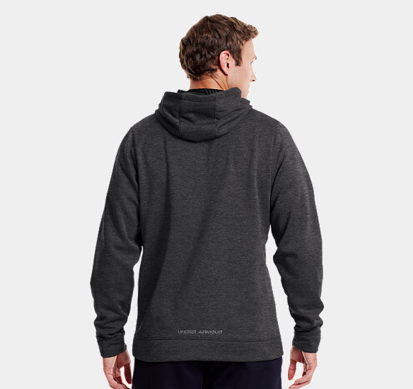 UNDER ARMOUR MEN ARMOUR FLEECE STORM BIG LOGO HOODIE CARBON HEATHER