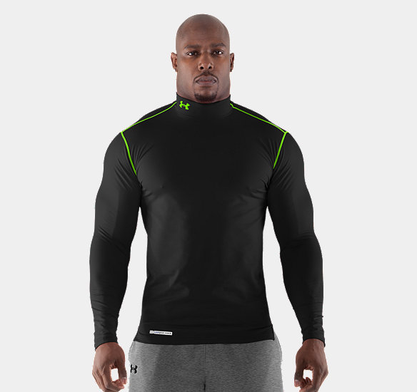 UNDER ARMOUR MEN COLDGEAR FITTED LONG SLEEVE MOCK BLACK