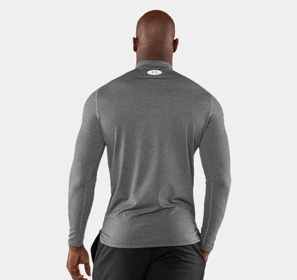 UNDER ARMOUR MEN COLDGEAR FITTED LONG SLEEVE MOCK TRUE GRAY HEATHER