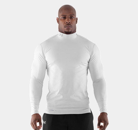 UNDER ARMOUR MEN COLDGEAR FITTED LONG SLEEVE MOCK WHITE