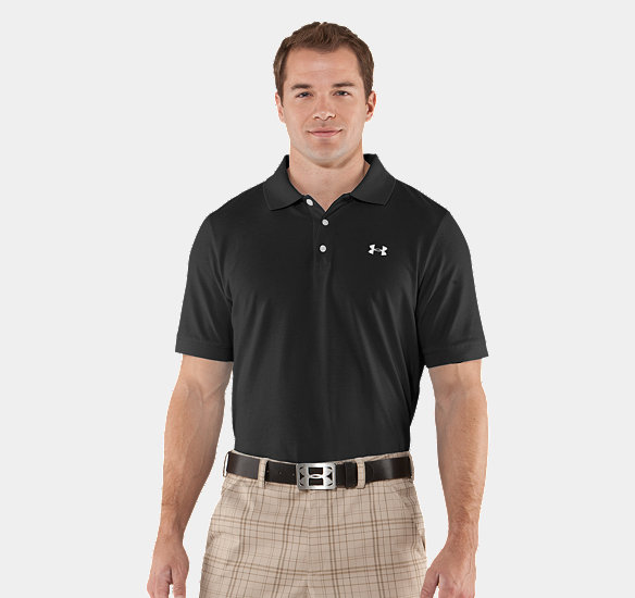 UNDER ARMOUR MEN CHARGED COTTON PIQUE POLO BLACK