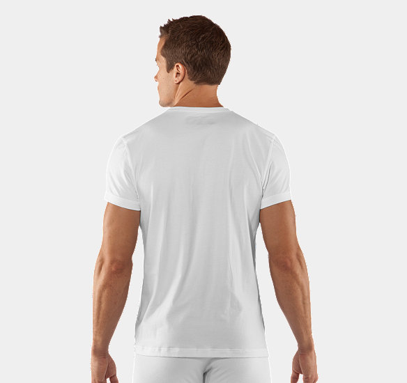 UNDER ARMOUR MEN CHARGED COTTON V-NECK UNDERSHIRT WHITE