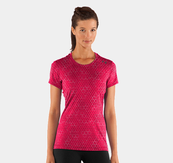 UNDER ARMOUR WOMEN HEATGEAR SONIC PRINTED SHORT SLEEVE HIBISCUS