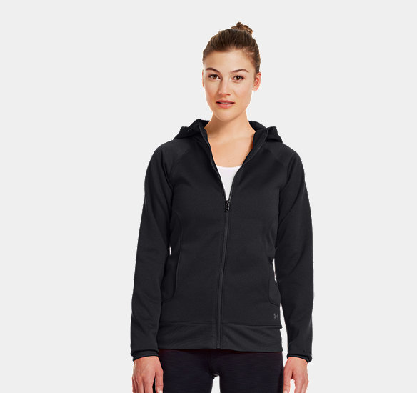 UNDER ARMOUR WOMEN ARMOUR FLEECE STORM FULL ZIP HOODIE BLACK