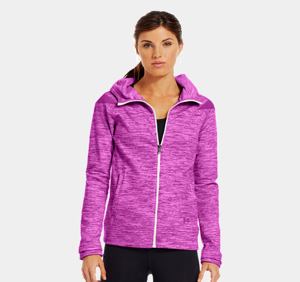 UNDER ARMOUR WOMEN CHARGED COTTON STORM MARBLE FULL ZIP HOODIE STROBE