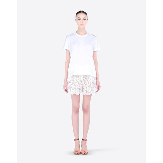 VALENTINO COTTON AND HEAVY LACE T-SHIRT IB3MG00K1RF 0BO