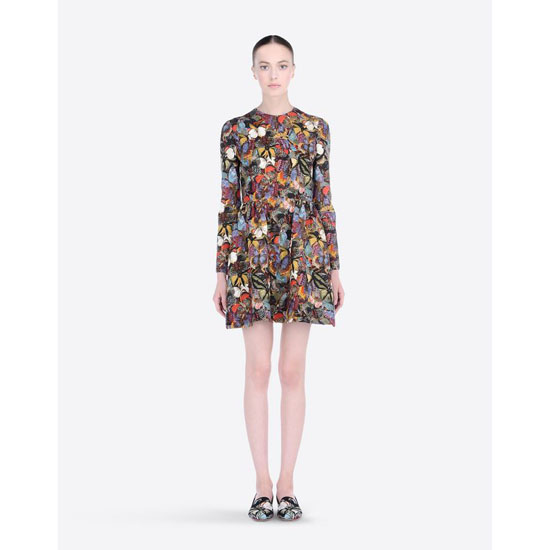 VALENTINO CAMU BUTTERFLY CREPE COUTURE DRESS HB3VS11S-V40871B M00