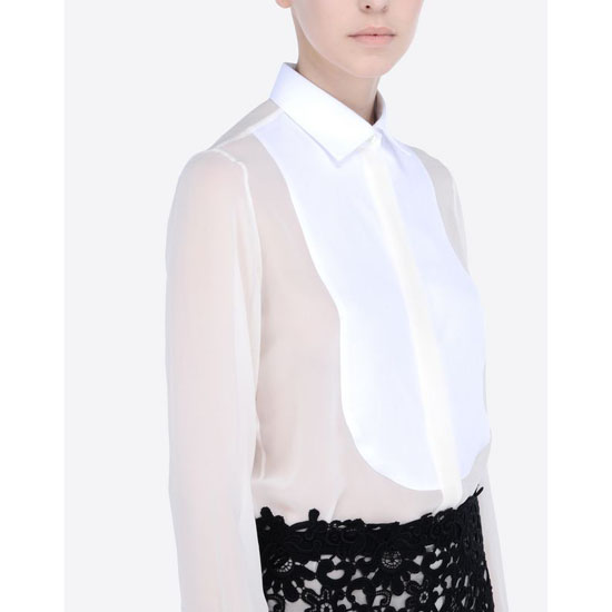 VALENTINO GEORGETTE SHIRT WITH PLASTRON IB3AB00T1NH A03
