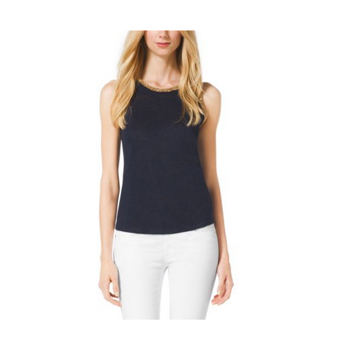 MICHAEL MICHAEL KORS Studded Linen-Blend Top NAVY