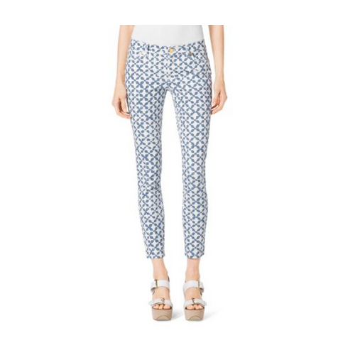 MICHAEL MICHAEL KORS Printed Cropped Jeans INDIGO