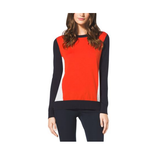 MICHAEL MICHAEL KORS Color-Block Cotton Sweater NEW NAVY/ MANDARIN