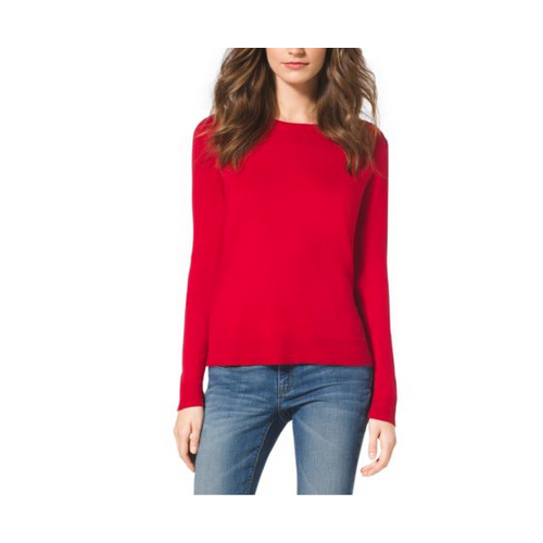 MICHAEL MICHAEL KORS Printed-Back Cotton-Blend Sweater RED BLAZE
