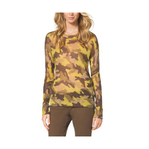 MICHAEL MICHAEL KORS Camouflage-Print Mohair-Blend Sweater ACID YELLOW