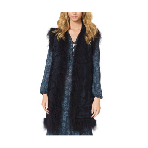 MICHAEL MICHAEL KORS Embroidered Fur-Trimmed Wool Vest NAVY