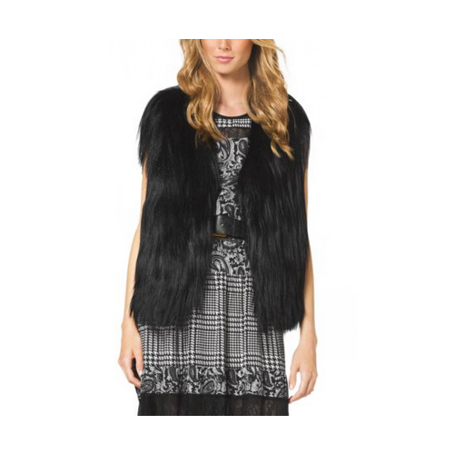 MICHAEL MICHAEL KORS Cropped Fur Vest BLACK