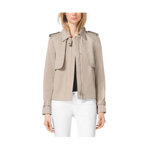 MICHAEL MICHAEL KORS Cropped Sateen Trench KHAKI