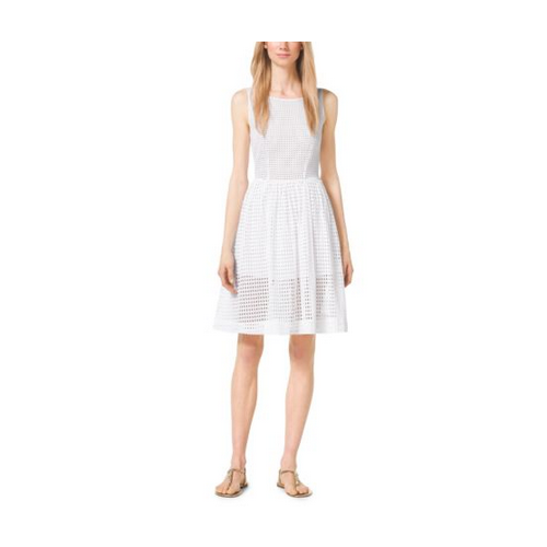 MICHAEL MICHAEL KORS Eyelet-Embroidered Dress WHITE