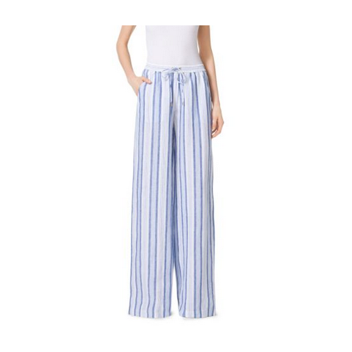 MICHAEL MICHAEL KORS Striped Linen Wide-Leg Pants FLINT BLUE