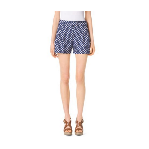 MICHAEL MICHAEL KORS Ikat Pleated Cotton-Sateen Shorts PRSSN/CLEMENTINE