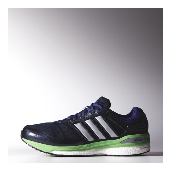 Men's Adidas Running Supernova Sequence Boost 7 Wide Shoes Collegiate Navy / Metallic Silver / Semi Flash Green