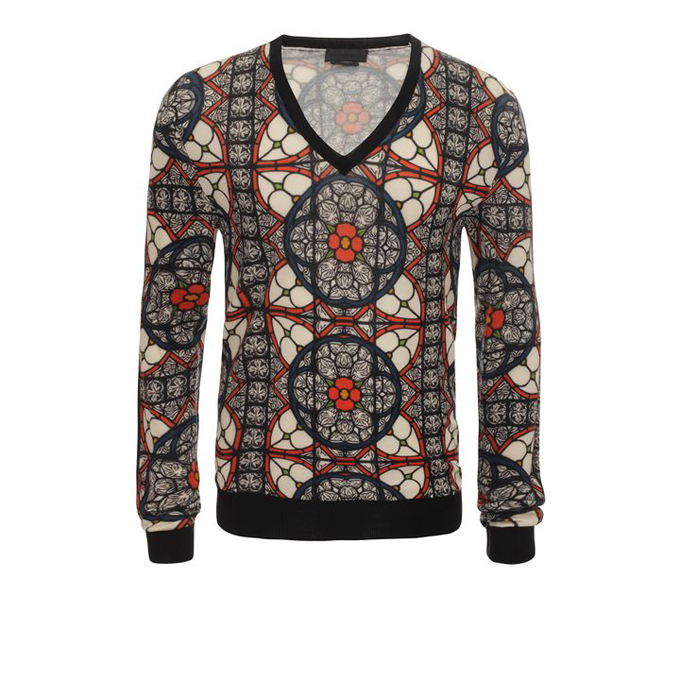 ALEXANDER MCQUEEN STAINED GLASS PRINT V-NECK JUMPER
