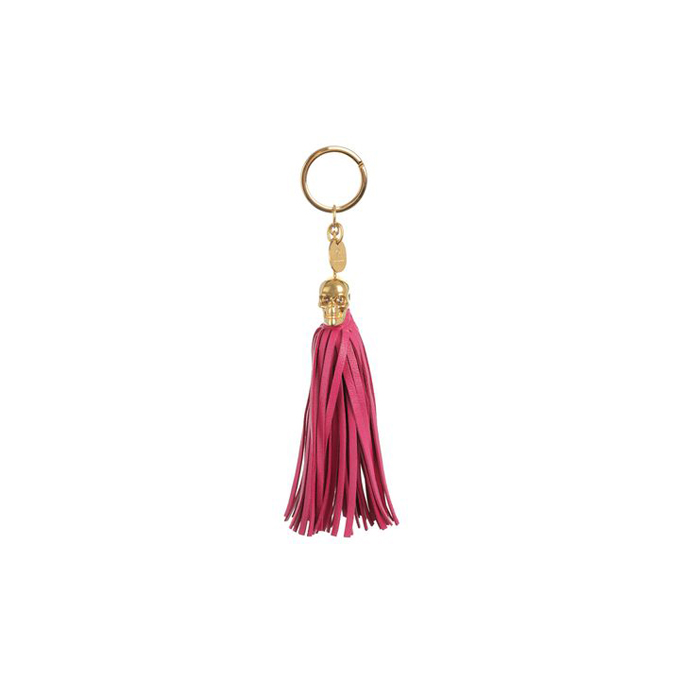 ALEXANDER MCQUEEN LEATHER TASSEL SKULL KEY RING