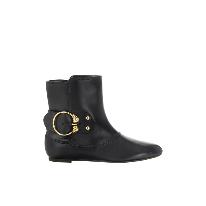 ALEXANDER MCQUEEN TWIN SKULL BUCKLE ANKLE BOOT