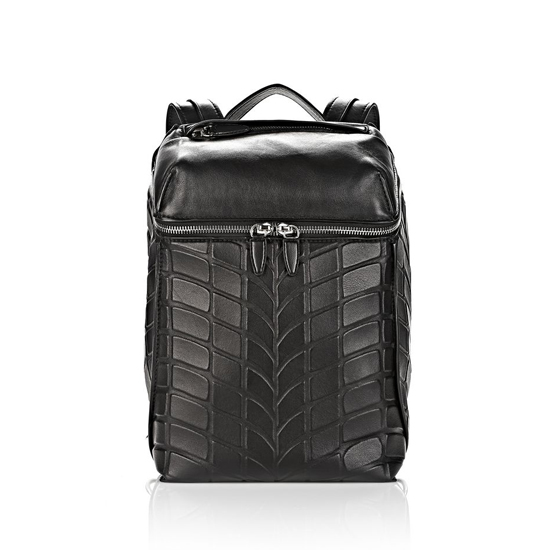 BLACK ALEXANDER WANG TIRE INSIDE-OUT BACKPACK IN BLACK WITH RHODIUM