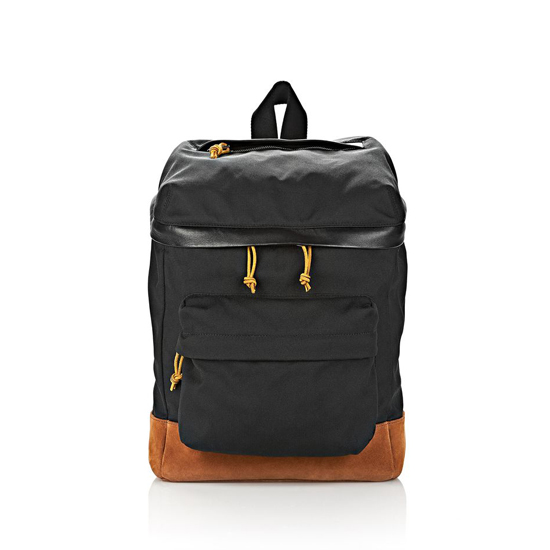 BLACK ALEXANDER WANG WALLIE BACKPACK IN BLACK CANVAS WITH RHODIUM
