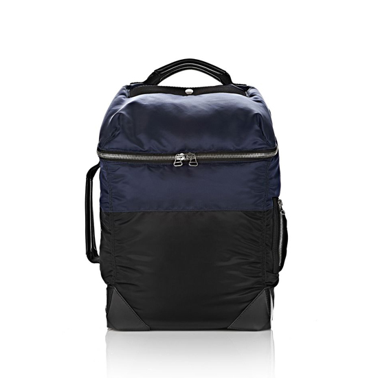 DARK BLUE ALEXANDER WANG WALLIE BACKPACK BOMBER IN NAVY NYLON WITH SILVER