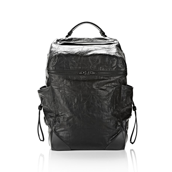 BLACK ALEXANDER WANG WALLIE BACKPACK IN WAXY BLACK WITH MATTE BLACK