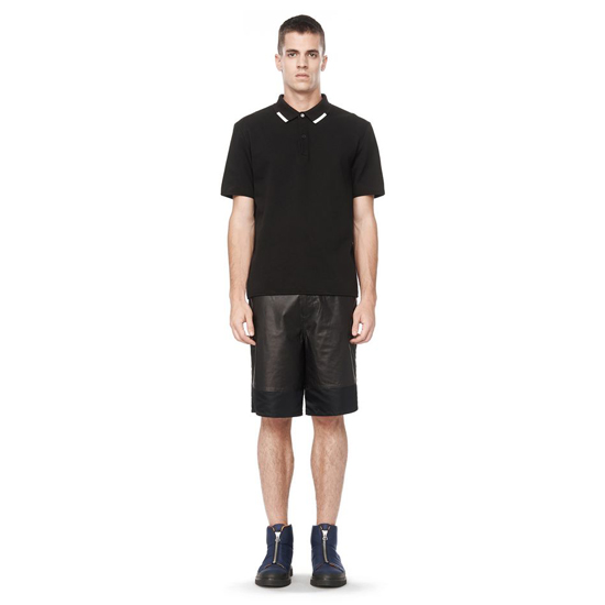 BLACK ALEXANDER WANG LEATHER SHORTS WITH NYLON PANELS