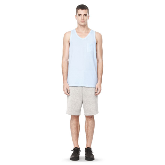 SKY BLUE ALEXANDER WANG CLASSIC LOW NECK TANK WITH POCKET
