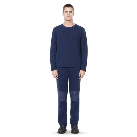 DARK BLUE ALEXANDER WANG LONG SLEEVE TEE WITH POP COLOR NECK TRIM