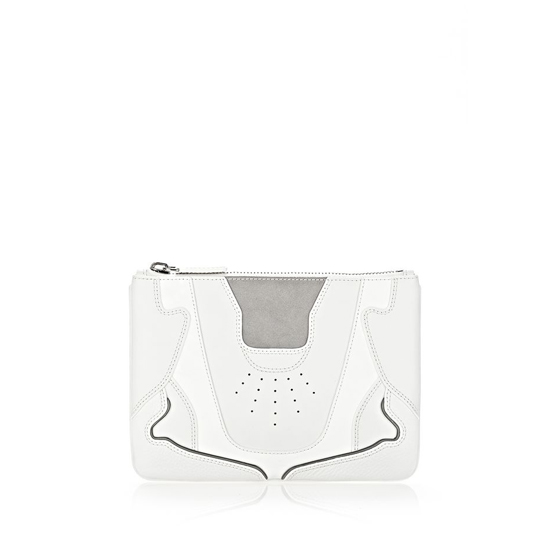 WHITE ALEXANDER WANG SNEAKER POUCH IN OPTIC WHITE AND LIGHT CONCRETE WITH RHODIUM