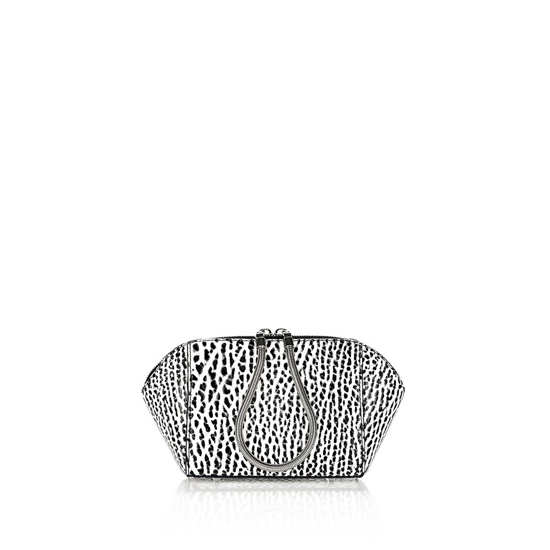 BLACK & WHITE ALEXANDER WANG CHASTITY MAKEUP POUCH IN PEBBLED WHITE AND BLACK
