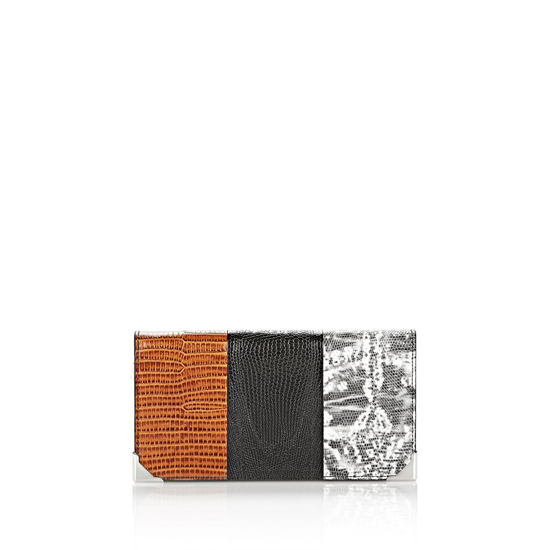 MULTICLR ALEXANDER WANG PRISMA SKELETAL LONG COMPACT IN EMBOSSED TRI-COLOR WITH RHODIUM