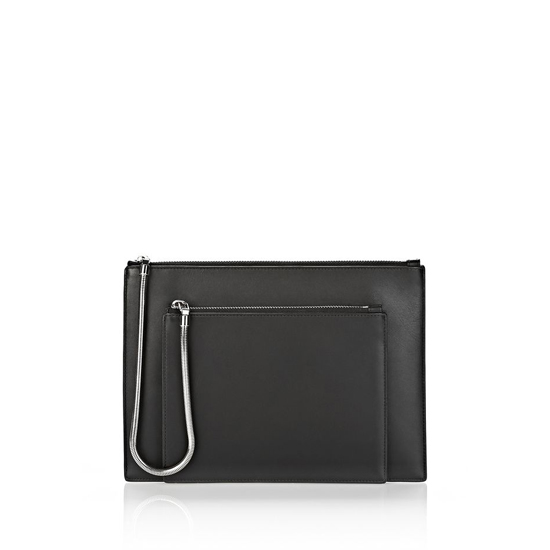 BLACK ALEXANDER WANG CHASTITY DOUBLE FLAT POUCH IN SMOOTH BLACK WITH RHODIUM