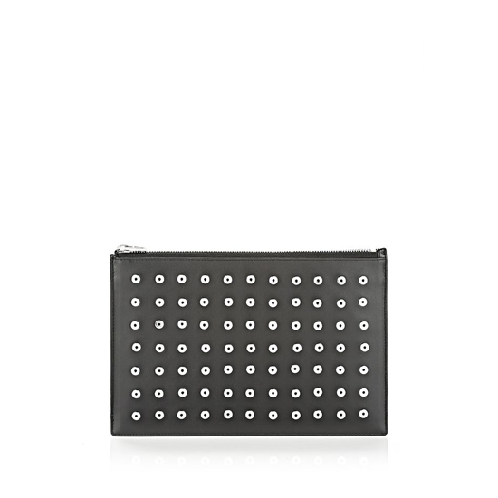 BLACK ALEXANDER WANG PRISMA FLAT POUCH IN BLACK WITH EYELETS AND RHODIUM