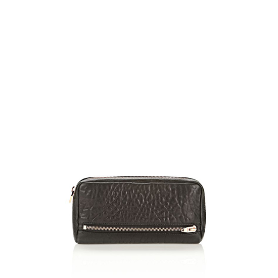 BLACK ALEXANDER WANG FUMO CONTINENTAL WALLET IN BLACK PEBBLE LEATHER WITH ROSEGOLD