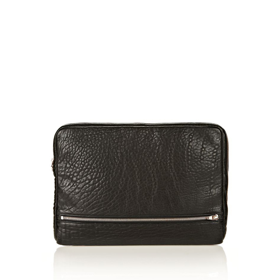 BLACK ALEXANDER WANG FUMO LAPTOP CASE IN BLACK PEBBLE LEATHER WITH ROSEGOLD