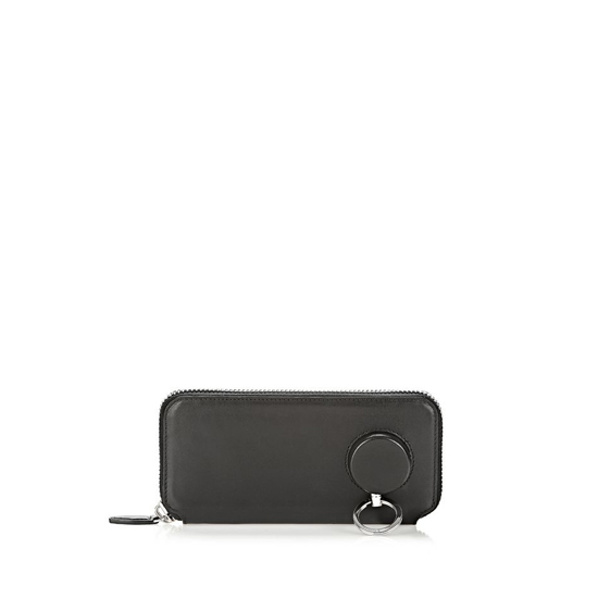 BLACK ALEXANDER WANG SURVIVAL CONTINENTAL WALLET IN BLACK WITH RHODIUM