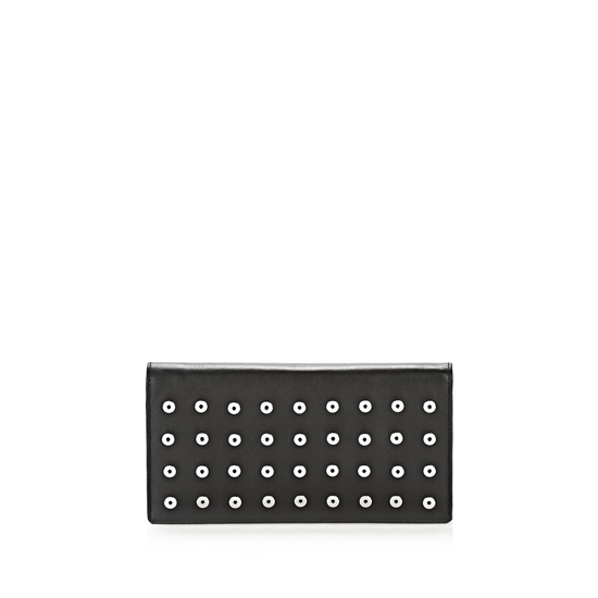 BLACK ALEXANDER WANG PRISMA LONG COMPACT WALLET IN BLACK WITH EYELETS AND RHODIUM