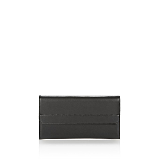BLACK ALEXANDER WANG CHASTITY CONTINENTAL WALLET IN SMOOTH BLACK WITH RHODIUM