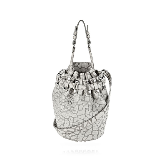 GRAY ALEXANDER WANG LASER CUT SMALL DIEGO IN LIGHT CONCRETE WITH RHODIUM