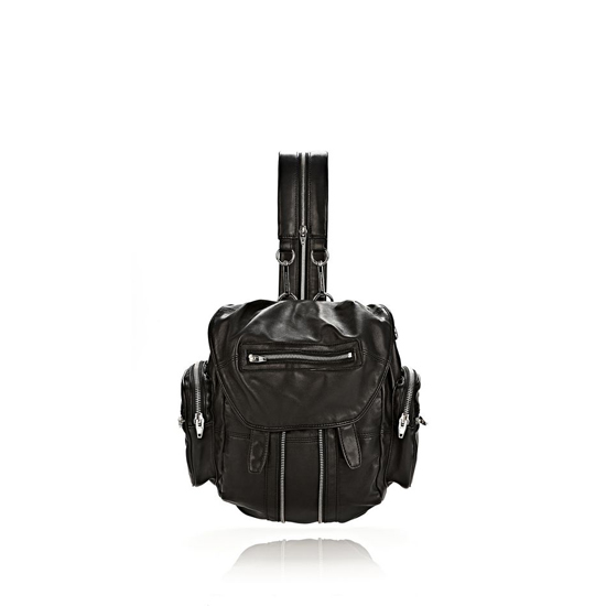 BLACK ALEXANDER WANG MINI MARTI BACKPACK IN WASHED BLACK WITH RHODIUM