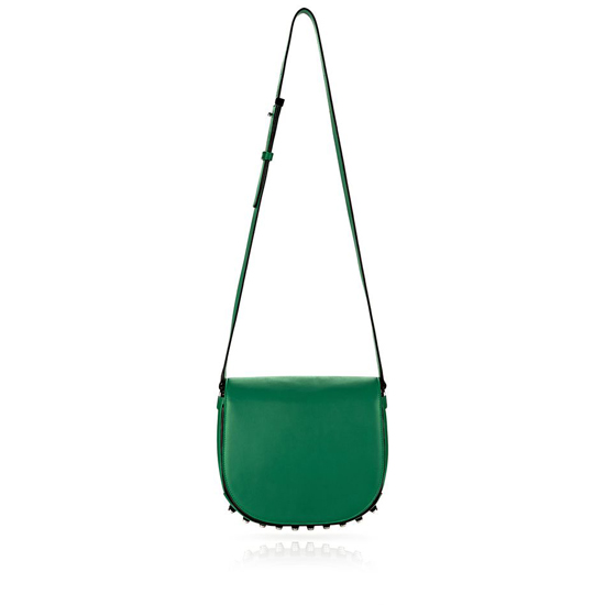 EMERALD GREEN ALEXANDER WANG LIA SLING IN ASTROTURF WITH RHODIUM