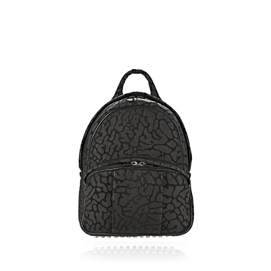 BLACK ALEXANDER WANG LASER CUT DUMBO BACKPACK IN BLACK WITH RHODIUM