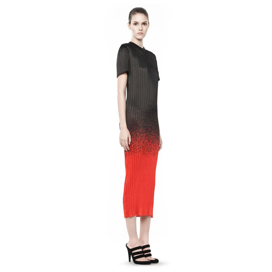 RED ALEXANDER WANG MICRO PLEATED T-SHIRT DRESS